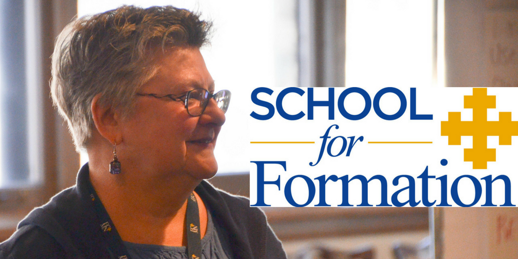 a woman taking a course with the school for formation logo